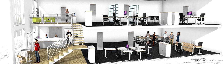 raumundbuero Büro Seitenansicht 3D-Visualisierung
