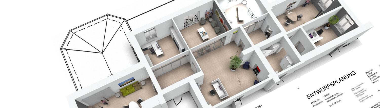 raumundbuero Büro Obenansicht 3D-Visualisierung